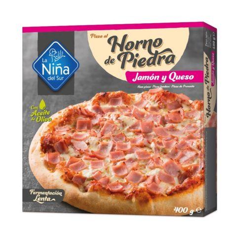 PIZZA A LA PIEDRA JAMÓN Y QUESOx6